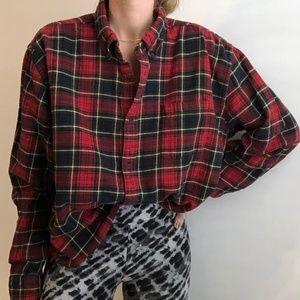 VINTAGE/ boxy crop flannel plaid button up